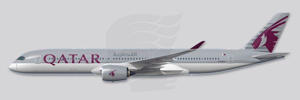 A350 Profile Illustration - Qatar Airways