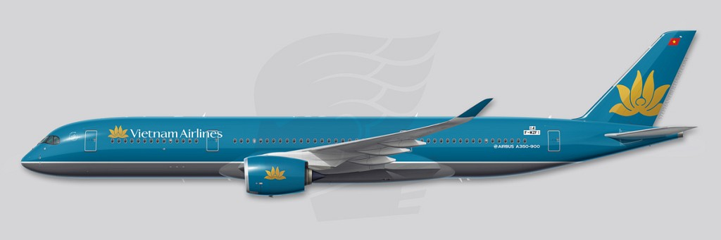Vietnam Airlines A350 Profile Illustration