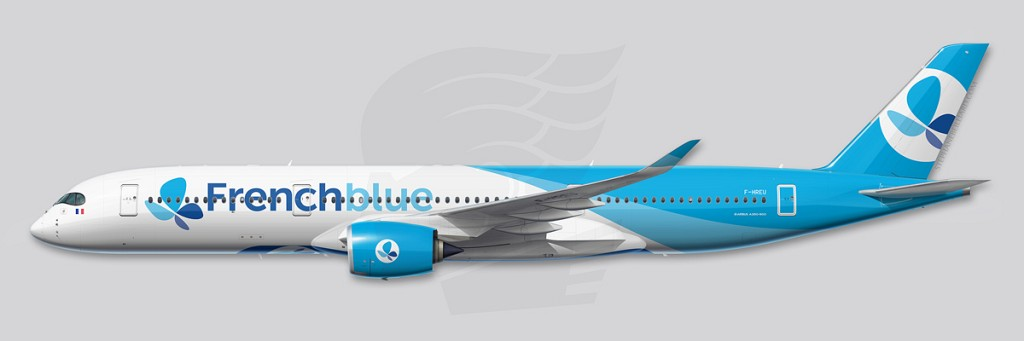 A350 Profile Illustration - FrenchBlue