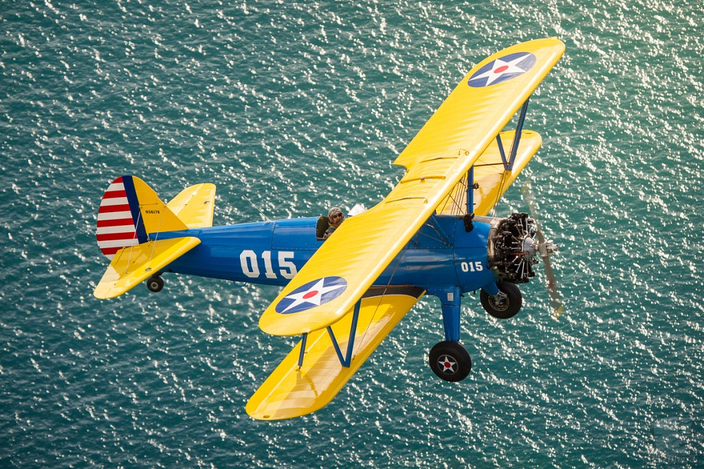 Stearman over Lake